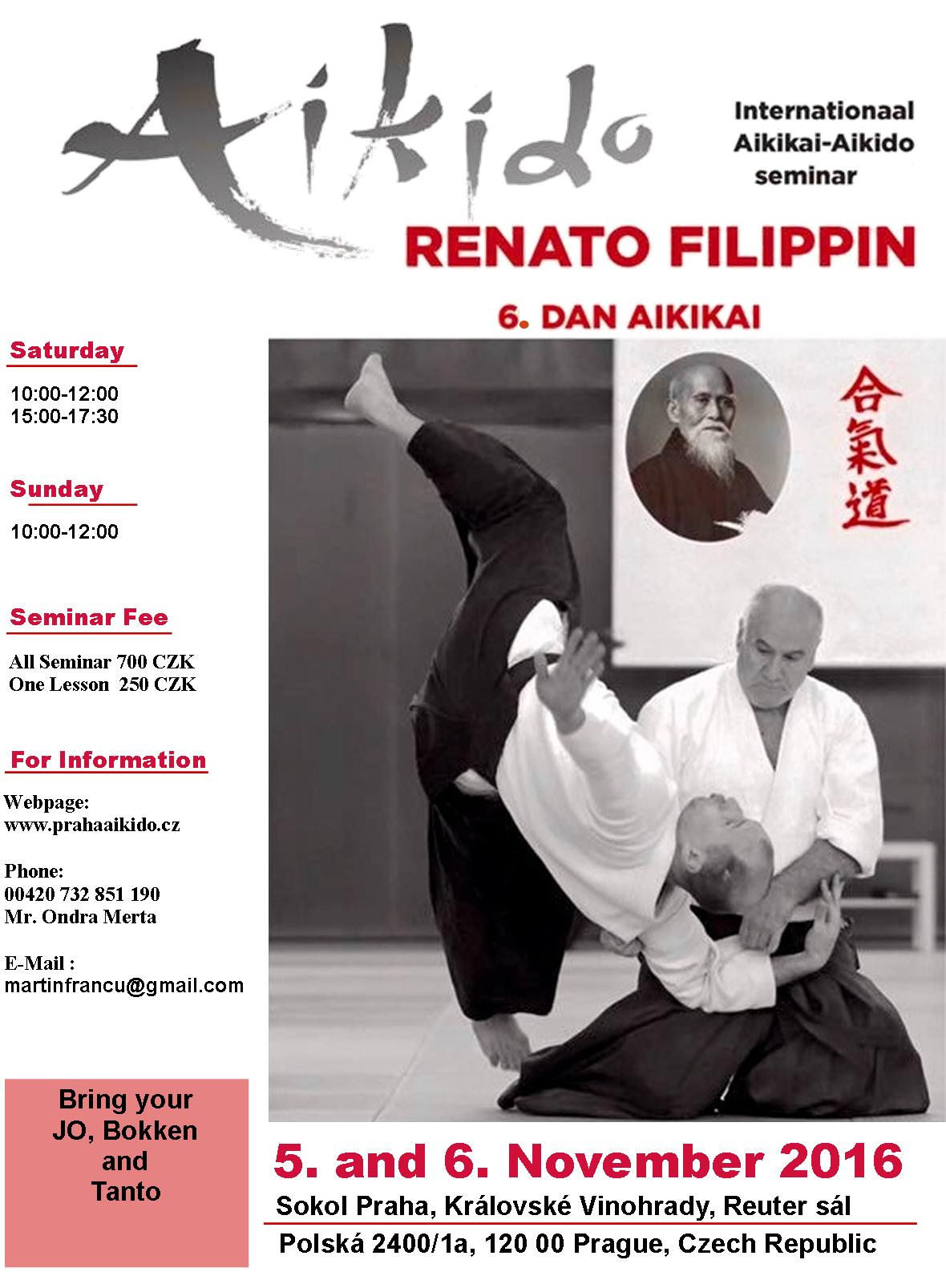 Poster for seminar of Renato Filippin 6. dan Aikido Aikikai in Prague, 5.-6. November 2016